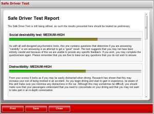 Safe Driver Test Results