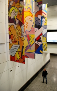 Banners, with the artist John Lester, at Ashford International Station