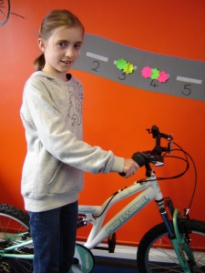 Clara Morgan with her Prize Bicycle