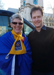 Sue Wilson with Nick Clegg at the Unite for Europe March
