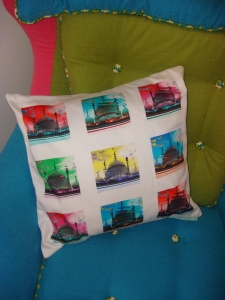 Acid Pavilion pop art print cushion