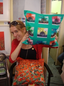Jacqueline Hammond with her art print cushions