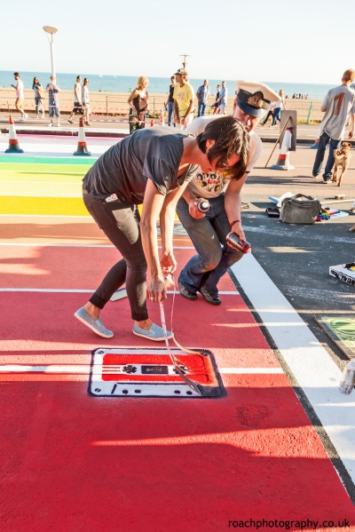 Lifting a cassette stencil. Rainbow Crossing.