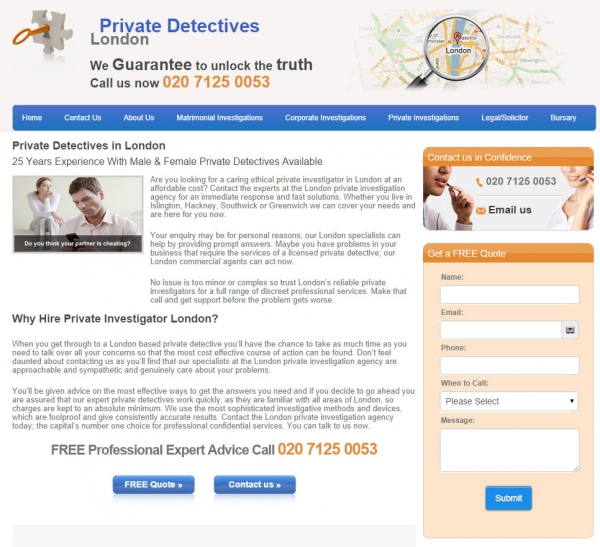 London Private Detectives website