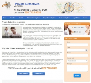 London Private Detectives website - click for high res image