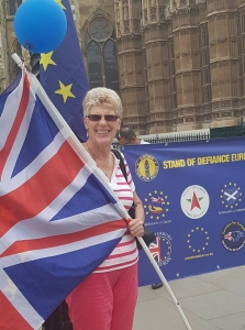 Sue Wilson, Chair of Bremain in Spain, outside Westminster