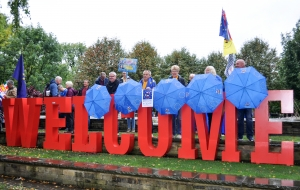 Bremain in Spain members with EU blue umbrellas - click for high res image