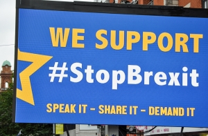 We Support Stop Brexit banner at Manchester march - click for high res image