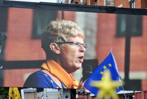 Sue Wilson, Chair of Bremain in Spain, speaking at Manchester march rally - click for high res image