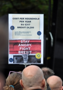 Cost of Brexit per household banner at Manchester march - click for high res image