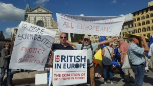 British in Europe banners outside the Theresa May Brexit speech