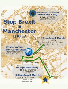 The route for the Stop Brexit march in Manchester - click for high res image