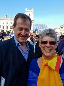 Sue Wilson with Alistair Campbell at the Unite for Europe March - click for high res image