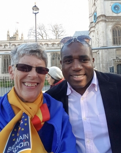 Sue Wilson with David Lammy at the Unite for Europe March - click for high res image