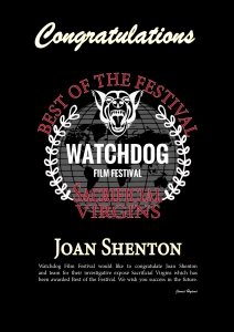 Watchdog Best of Festival award - Joan Shenton citation - click for high res image