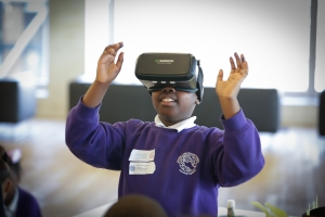A London primary school pupil enjoying trying out VR at Tate Exchange last year
