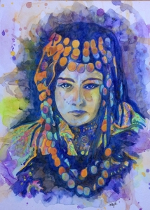 Hilly Barmby Bedouin - woman water colour - click for high res image