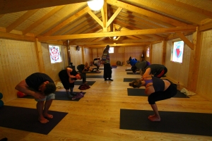Everybody getting into the morning ashtanga yoga class - click for high res image