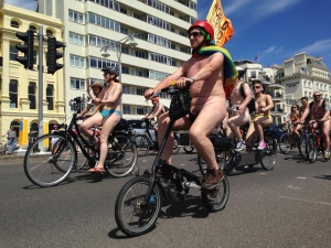 'Flagged' at Brighton Naked Bike Ride 2014 - click for high res image